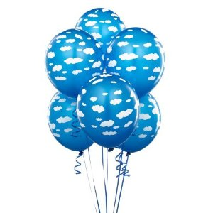 helium party balloons - blue color with white clouds